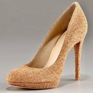 Brian Atwood Fredrique Gold Glitter Heels Sz 8.5